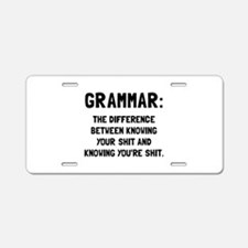 Grammar Shit Aluminum License Plate