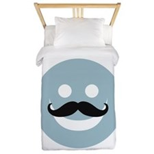 Happy face with mustache Twin Duvet