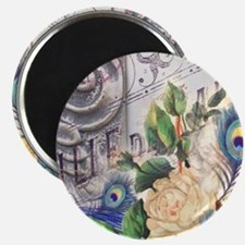 white rose peacock feather vintage floral Magnet