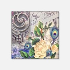 """white rose peacock feather  Square Sticker 3"""" x 3"""""""