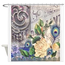 white rose peacock feather vintage  Shower Curtain