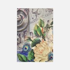 white rose peacock feather vintag Rectangle Magnet