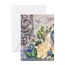 white rose peacock feather vintage f Greeting Card
