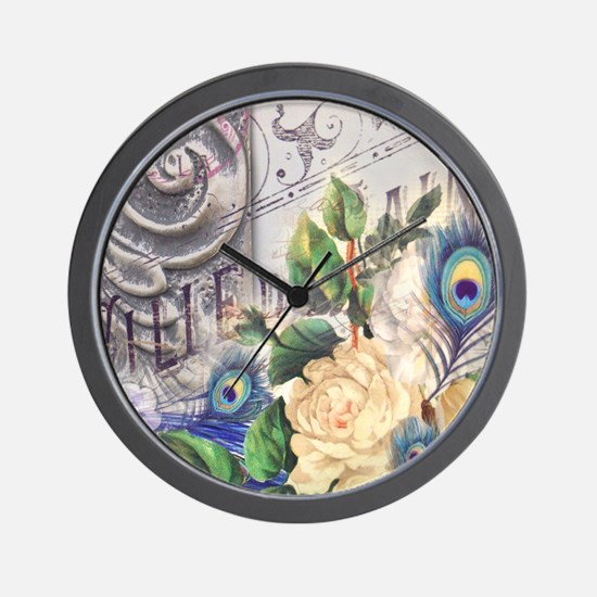 white rose peacock feather vintage flor Wall Clock