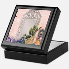 victorian art white rose peacock feat Keepsake Box