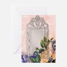victorian art white rose peacock fea Greeting Card