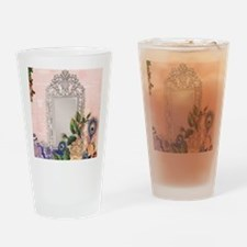 victorian art white rose peacock fe Drinking Glass