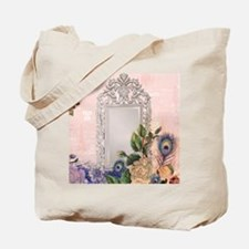 victorian art white rose peacock feather  Tote Bag