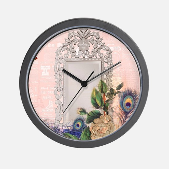 victorian art white rose peacock feathe Wall Clock