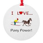 I Love Pony Power Round Ornament