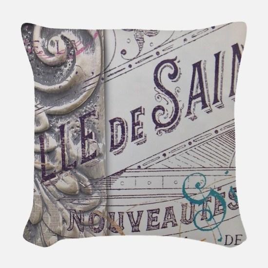 vintage french scripts artisti Woven Throw Pillow