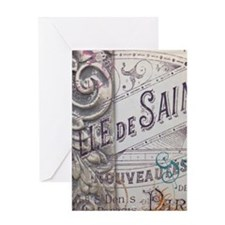 vintage french scripts artistic fash Greeting Card