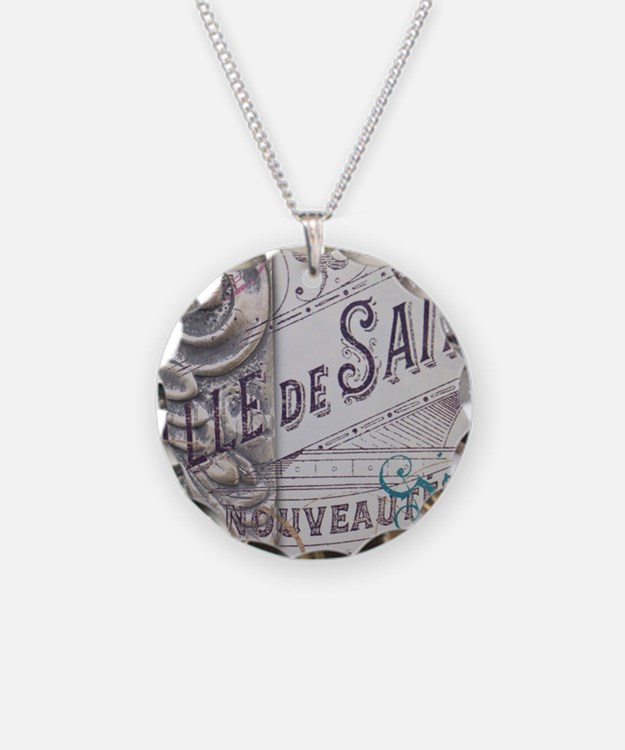 vintage french scripts artis Necklace