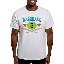 Baseball Player Number 3 T-Shirt