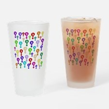 Rainbow Of Question Marks Drinking Glass