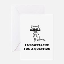 Cat Mustache Greeting Card