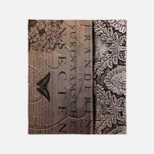 paris botanical art vintage scripts Throw Blanket