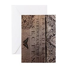paris botanical art vintage scripts Greeting Card