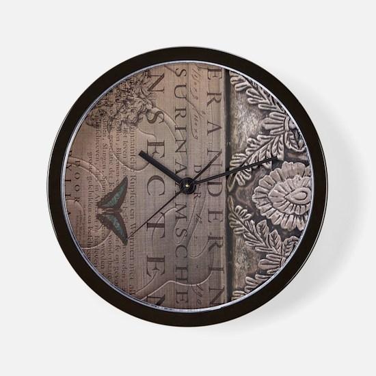paris botanical art vintage scripts Wall Clock