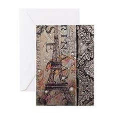 paris eiffel tower botanical art vin Greeting Card