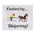 Skijoring Horse Throw Blanket