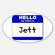 hello my name is jett Oval Decal