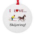 Skijoring Horse Round Ornament