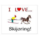 Skijoring Horse Small Poster