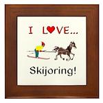 Skijoring Horse Framed Tile