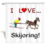 Skijoring Horse Shower Curtain