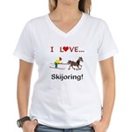 Skijoring Horse Women's V-Neck T-Shirt