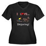 Skijoring Horse Women's Plus Size V-Neck Dark T-Sh