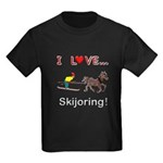 Skijoring Horse Kids Dark T-Shirt