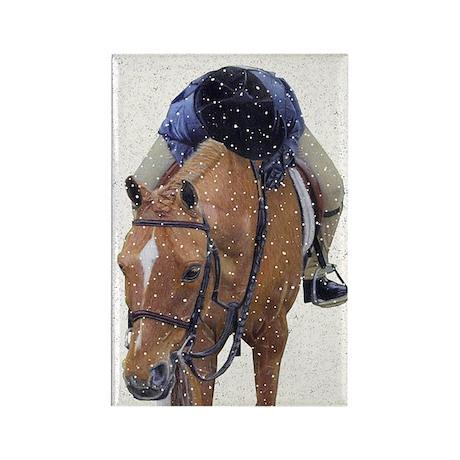Snowy Winter Pony Rectangle Magnet