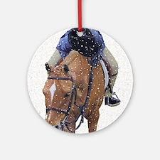 Snowy Winter Pony Round Ornament