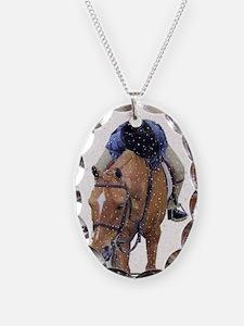 Snowy Winter Pony Necklace Oval Charm