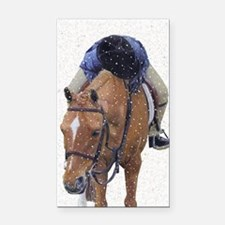 Snowy Winter Pony Rectangle Car Magnet