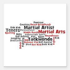 "Martial Arts Taekwondo Square Car Magnet 3"" x 3"""