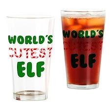 Worlds CUTEST Elf! Drinking Glass