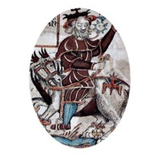 Odin riding Sleipnir Oval Ornament