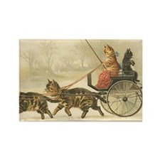 Vintage Kitty Cats Driving and Pu Rectangle Magnet