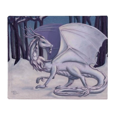 Snow Dragon Throw Blanket