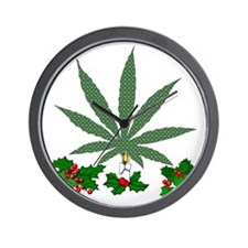 Pretty Xmas Marijuana Leaf Wall Clock