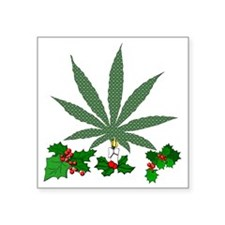 "Pretty Xmas Marijuana Leaf Square Sticker 3"" x 3"""