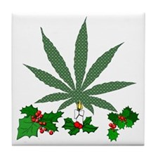 Pretty Xmas Marijuana Leaf Tile Coaster