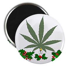 Pretty Xmas Marijuana Leaf Magnet
