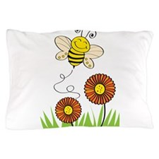Bee with Flowers Pillow Case