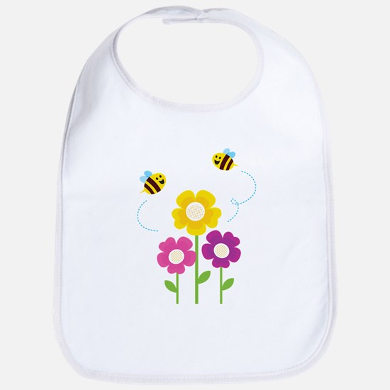 Bees with Flowers Bib