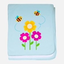 Bees with Flowers baby blanket