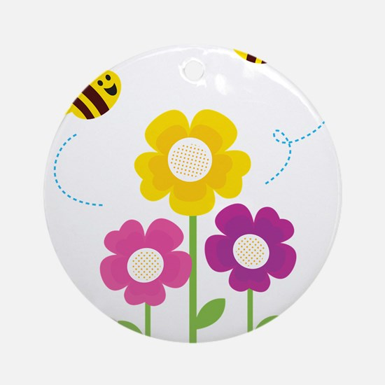 Bees with Flowers Ornament (Round)